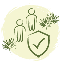 Ilustração gráfica na cor verde de dois viajantes em pé, ao lado algumas folhas de palmeira azul, com caule em formato espalmado e folhas em leque. Ao fundo um círculo areia com traço rústico nas bordas.