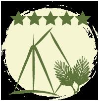 Ilustração gráfica em verde de uma barraca, duas folhas de palmeira areca, com um haste principal e muitas folhas finas saindo dele. Acima estão desenhadas cinco estrelas, que representam as avaliações dos viajantes. Ao fundo um círculo areia com traço rústico nas bordas.