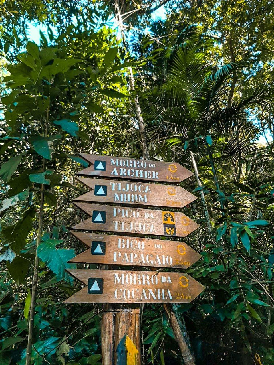 Imagem de uma placa de madeira que sinaliza os atrativos do Parque Nacional da Tijuca. Cada nome de atrativo está pintado com tinta branca em uma placa de madeira com formato de seta. Alguns logos e a distância de cada atrativo também estão pintados na planta. Algumas árvores e muitas folhas verdes fazem parte do fundo da imagem.