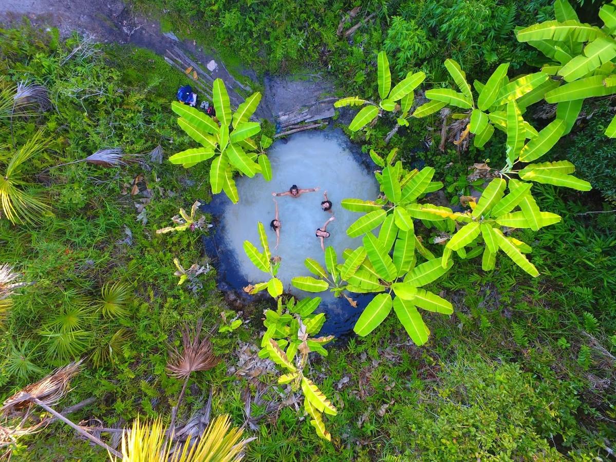 Vista de cima de um fervedouro. No centro da imagem estão 4 pessoas olhando para a câmara com os braços abertos, formando um círculo aberto. Elas estão dentro da nascente que possui águas cristalinas e areia branca. Ao redor do fervedouro estão algumas palmeiras com coloração verde claro e outras plantas com coloração verde escuro.